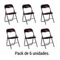 Pack 6 sillas Plegables. Negro