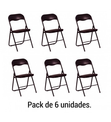 Pack 6 sillas Plegables. Negro