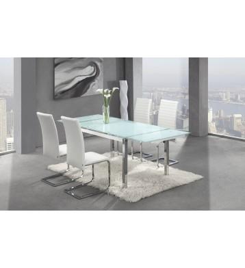 Mesa extensible cromada y Cristal blanco 140-220 cm