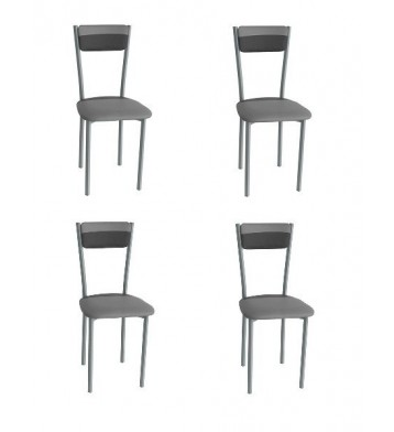 Pack 4 sillas poliuretano color combinado negro/gris