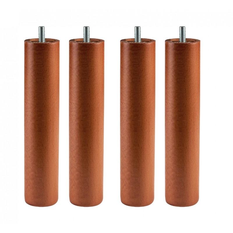 Patas redondas somier pack 4 cerezo madera 5x25cm - Patas de madera para somier ...