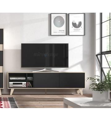Modulo salon TV con patas. Roble y antracita