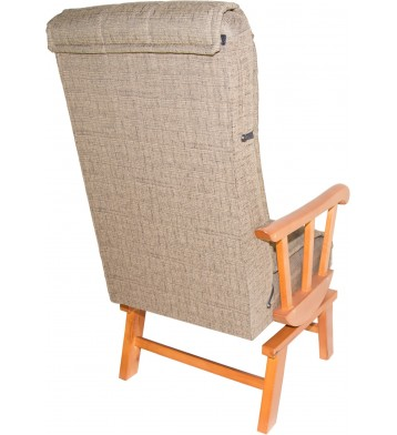 Sillon balancin madera maciza. Tapizado arena