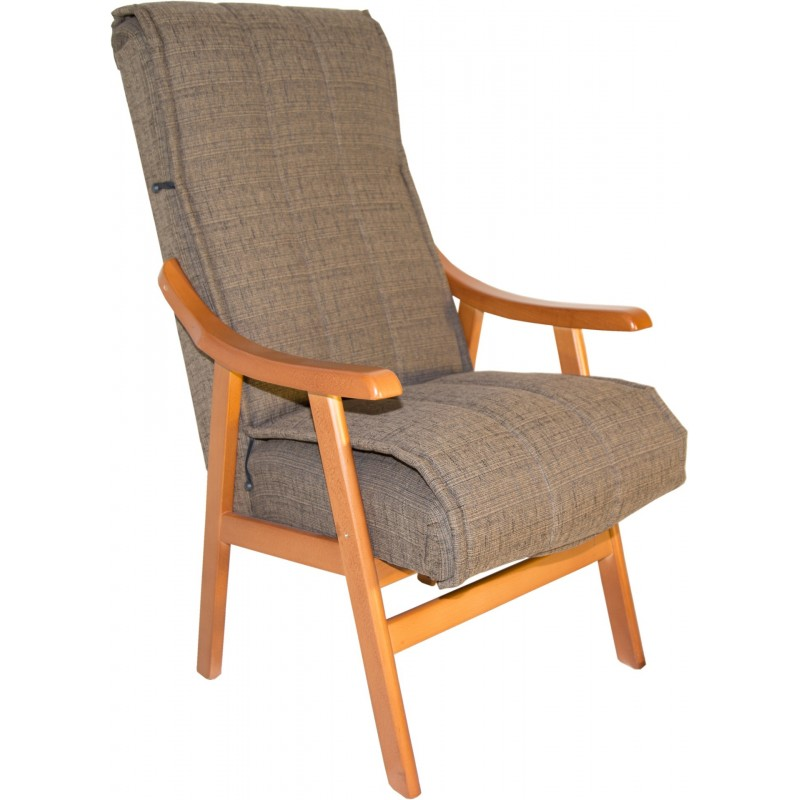 Sill n tur n tapizado marr n madera maciza 59x110x69cm for Sillon cama de madera