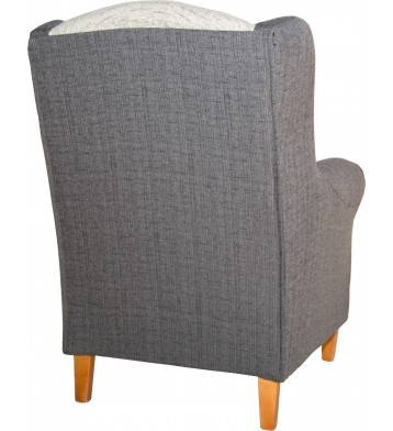 Sillon orejero fijo. Color blanco y gris