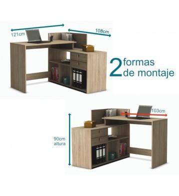 Escritorio mesa de estudio 121cm. Roble