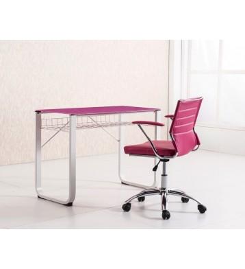 Mesa de estudio o escritorio con cristal rosa fucsia 100 cm