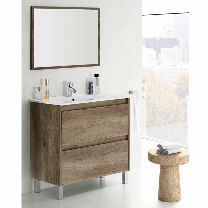 Mueble de ba o con lavamanos y espejo color nordik for Mueble con espejo para bano