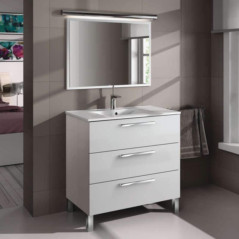 Mueble de ba o o aseo 3 puertas y espejo blanco for Mueble con espejo para bano
