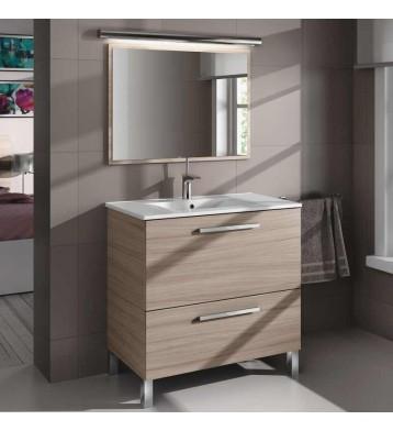 Mueble de aseo con lavamanos y espejo. Nature