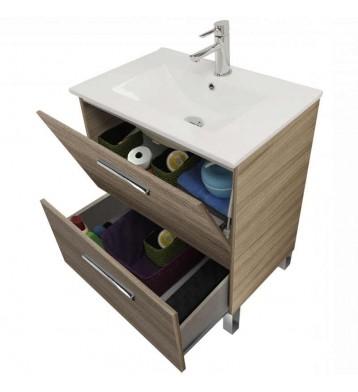 Mueble de aseo con lavamanos (opcional) y espejo, Naida 80x45 Nature