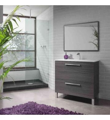Mueble de baño con lavamanos y espejo. Gris Ceniza