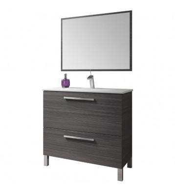 Mueble de baño con lavamanos (opcional) y espejo, Naida 80x45 Gris Ceniza