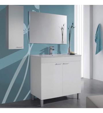Mueble de baño con lavamanos (opcional) y espejo, Manila Blanco Brillo