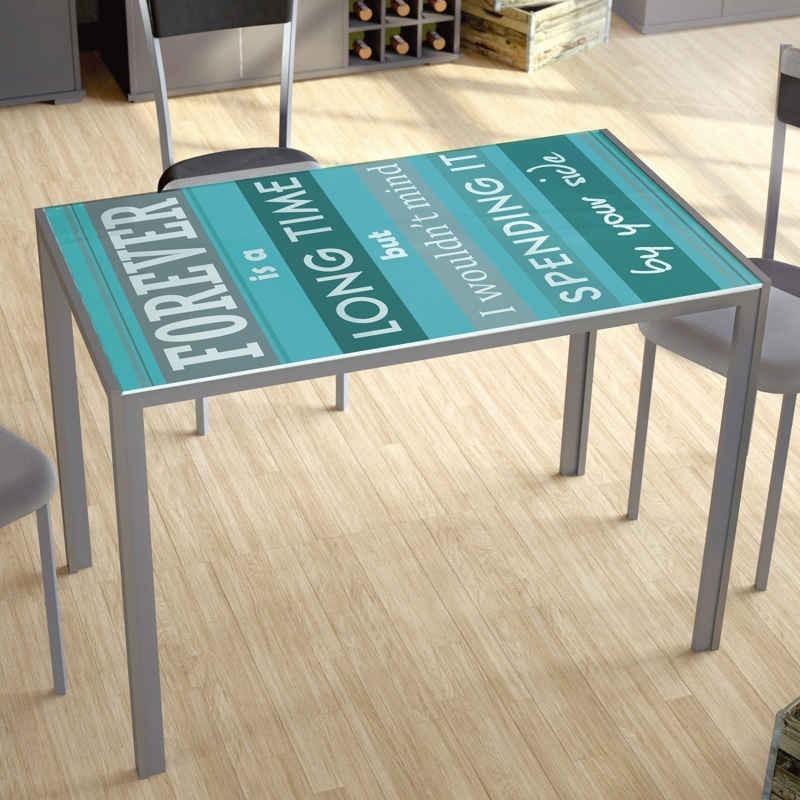 Mesa cocina serigrafiado forever cristal metal 105x75x60 - Mesa cocina cristal templado ...