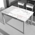 Mesa de cocina extensible con alas, cristal 110-170x70 - Miroytengo.es