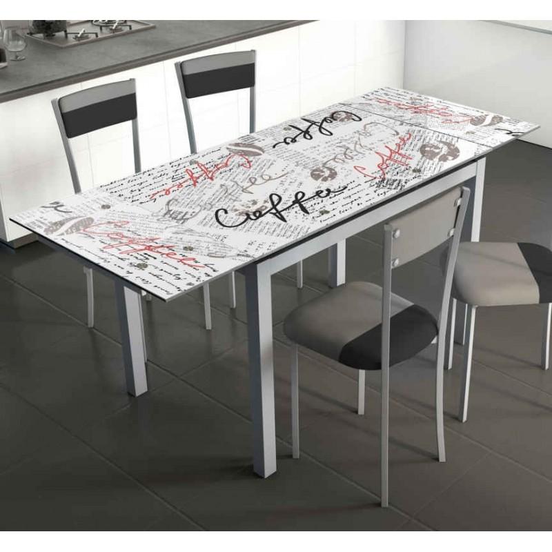 Mesa de cocina extensible cristal templado 170 110x70 for Mesa cristal 110 x 70