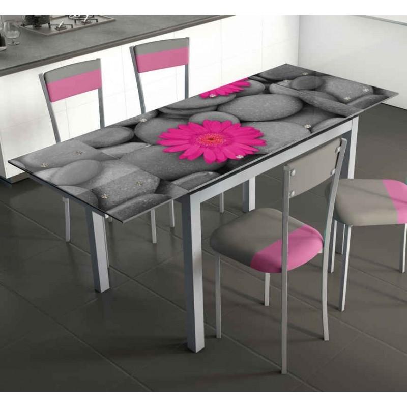 Mesa de cocina extensible 170x70cm cristal templado for Mesas de cocina de cristal