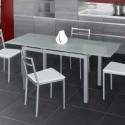 Mesa Extensible Cristal y Metal blanca 110-170 cm