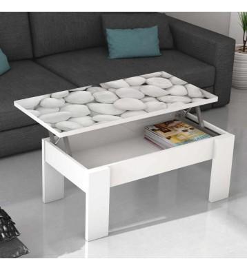 Mesa de centro elevable con cristal Piedras