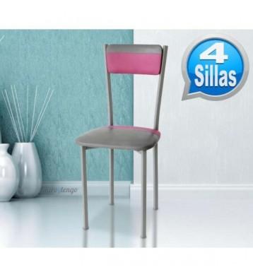 Pack mesa cocina y 4 sillas Gris-Rosa