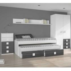 Pack dormitorio juvenil completo Blanco y gris ceniza en varios colores