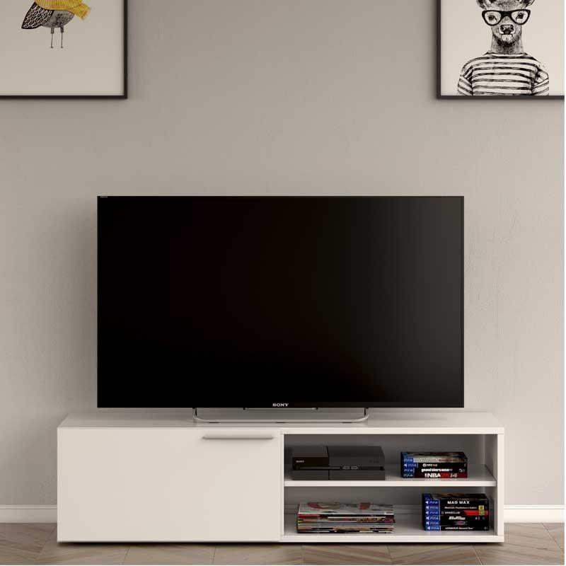 M dulo bajo televisi n blanco brillo 130x35x42cm for Modulos bajos para salon
