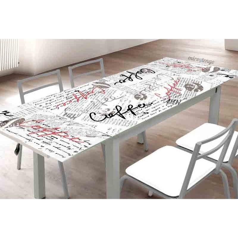 Mesa de cocina extensible con alas cristal 110 170x70 for Mesa cristal 110 x 70