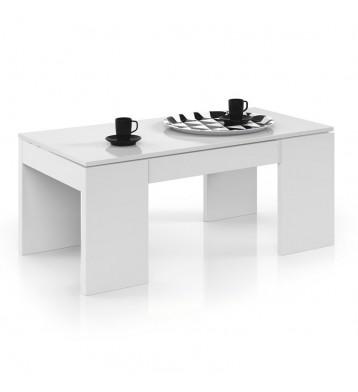 Mesa de centro elevable. Blanco brillo