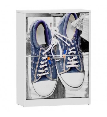 Zapatero 2 puertas blanco 82x60cm, Sneakers azules