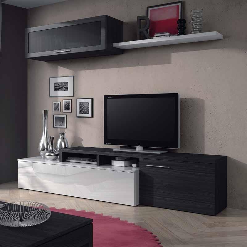 Mueble sal n modular lexus blanco ceniza 200x45cm for Mueble modular blanco