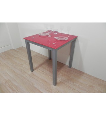 Mesa Refez 70x70. Cristal rojo