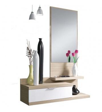 Recibidor Nature y Blanco con espejo.