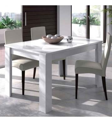 Mesa de comedor extensible blanco brillo 140-190 cm
