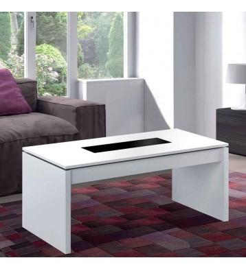 Mesa de centro elevable blanco brillo y cristal negro