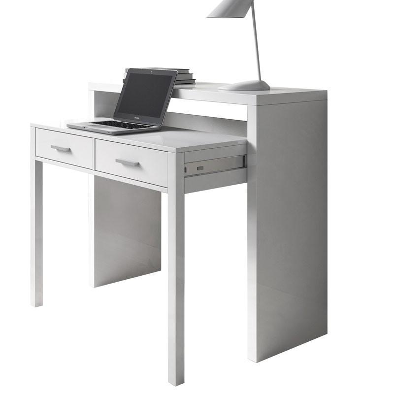 Mesa escritorio desplazable. 98cm. Blanco brillo