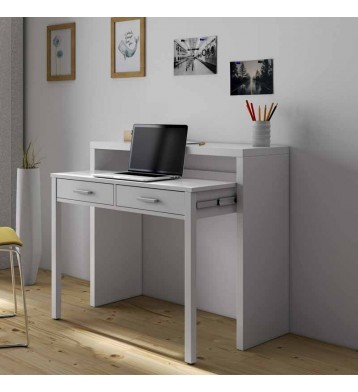 Mesa escritorio desplazable. 98cm. Blanco brillo