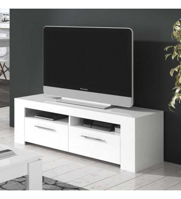 Mesa de TV de 120 cm blanco brillo puertas abatibles