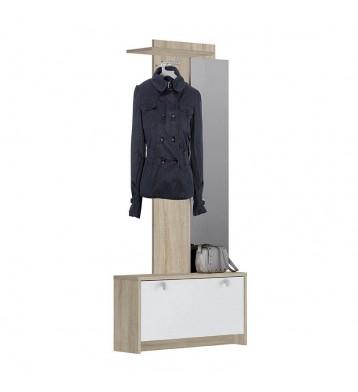 Recibidor vestidor con zapatero abatible y espejo. Roble y blanco