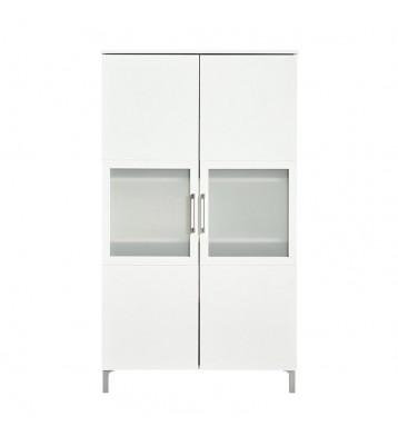 Armario vitrina de 2 puertas con cristal. Blanco perla