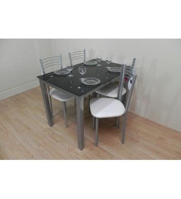 Pack mesa color negro 110x70 + 4 sillas blancas y metálicas