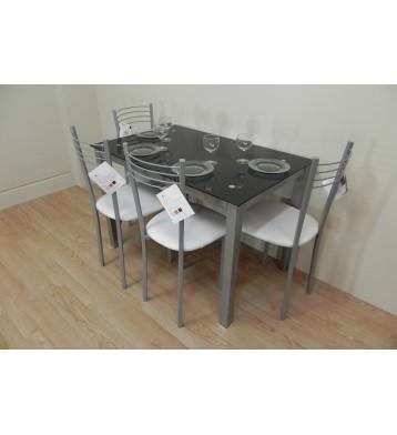Pack Mesa 110x70 + 4 sillas metalicas