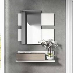 Recibidor con espejo blanco y fresno