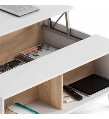 Mesa de centro elevable blanca y roble
