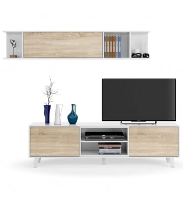 Mueble salon TV blanco y roble