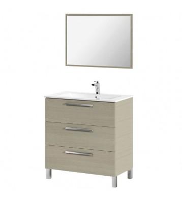 Mueble de baño, lavamanos (opcional) y espejo, Taria 86x80  Roble
