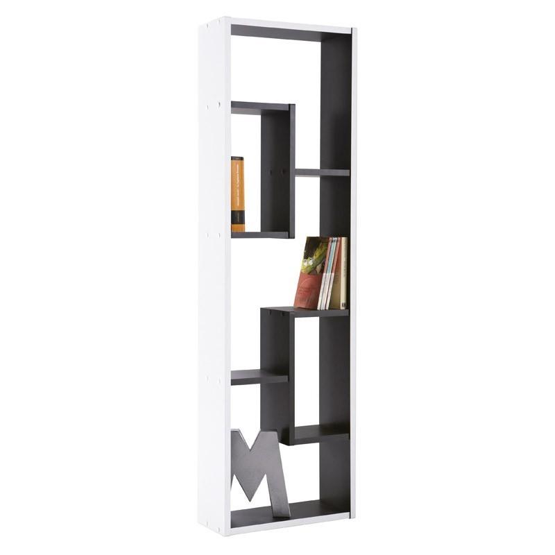 Estanteria multimedia 36x120cm. Blanco y negro
