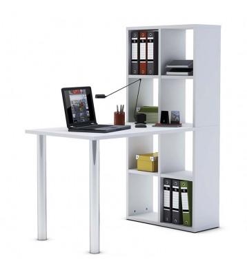 Mesa escritorio con estanteria alta. Blanca