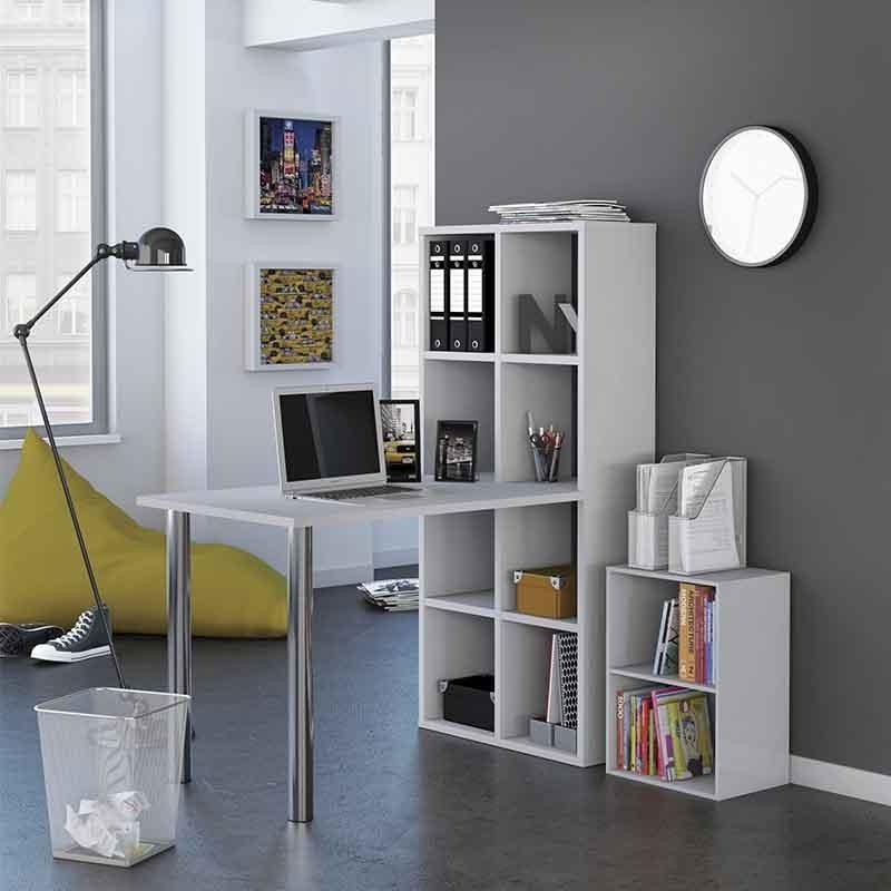 Mesa escritorio estanter a blanco metal 120x142 - Mesas de estudio de cristal ...