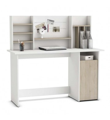 Mesa escritorio con altillo 135cm. Blanco y roble